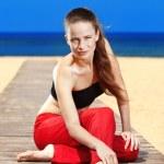 Fitness the beach — Stock Photo