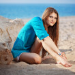 Beautiful girl on beach — Foto Stock
