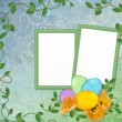 Easter greeting card with decorative egg — Stock Photo