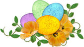 Easter eggs arrangement with spring flowers isolated on white ba — Stock Photo