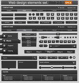 Black web design elements set. Vector illustration — Stok Vektör