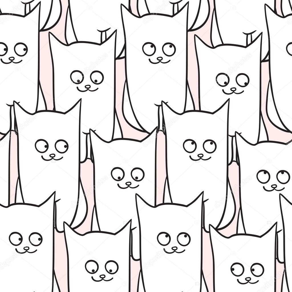 Seamless pattern with funny cats. Vector illustration — Stock Vector #7974044