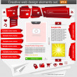 Creative web design elements set red - Stock Vector