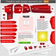Creative web design elements set red — Stock Vector