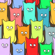 Royalty-Free Stock Vector Image: Seamless pattern with funny cats color