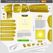 Creative web design elements set yellow — Stock Vector