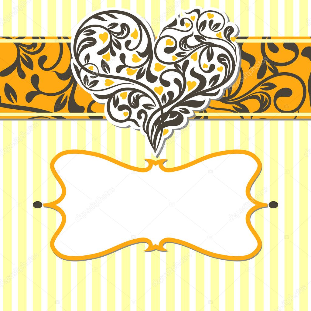 Vintage card with abstract heart. Vector illustration — Stock Vector #9413422