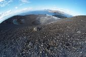 Fisheye view of crater on Vulcano island near Sicily, Italy — Stock Photo