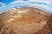 Fisheye view of desert near the Dead Sea from Masada — Stock Photo