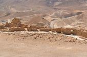 çölde eski masada kale kalıntıları — Stok fotoğraf