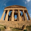 Fisheye view of Concordia temple in Agrigento, Sicily, Italy - ストック写真