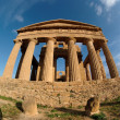 Fisheye view of Concordia temple in Agrigento, Sicily, Italy - Stock Photo