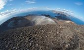 Fisheye view of crater of Vulcano and Aeolian islands — Stock Photo