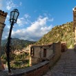 Fisheye view of Savoca village in Sicily at sunset — Stock Photo