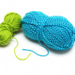 Clews of blue and green wool threads for knitting isolated — Stock Photo