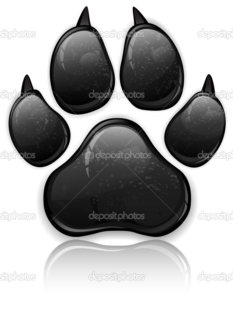 Black animal paw print isolated on white, vector illustration — Stock Vector #10104995