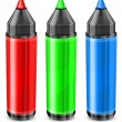 Three color markers — Stock Vector #10196131