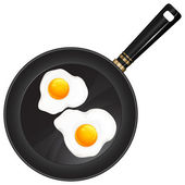 Fried eggs on pan — Stock Vector