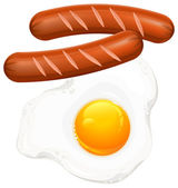 Fried eggs and sausage on white — Stock Vector