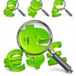 Magnifying glass & money symbol — Stock Vector