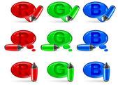Speech bubbles & marker — Stock Vector