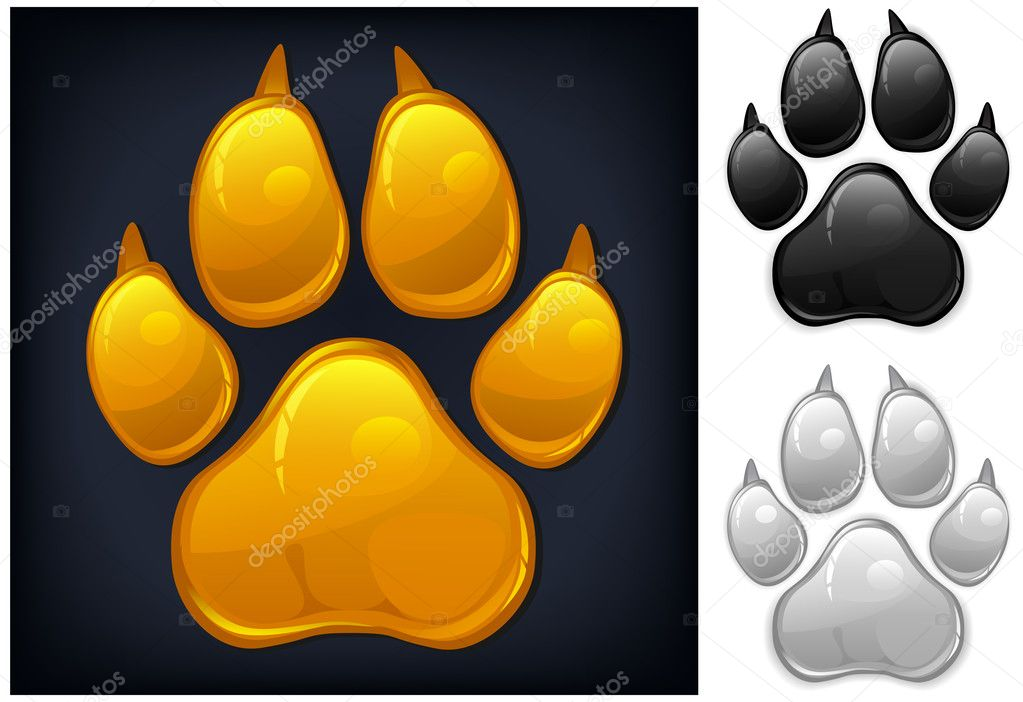Yellow animal paw print isolated on black, vector illustration — Stock Vector #10467955