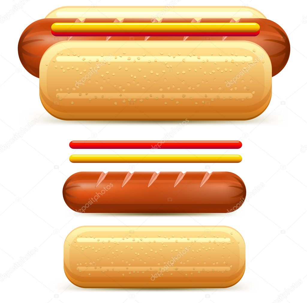 Hotdog stylized with  ketchup and mustard isolated on white vector illustration — Stock Vector #10667616