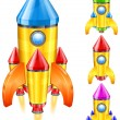Stock Vector: Retro rocket