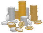 Gold and silver coins — Vector de stock