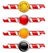 Spiral ribbon & label — Stock Vector