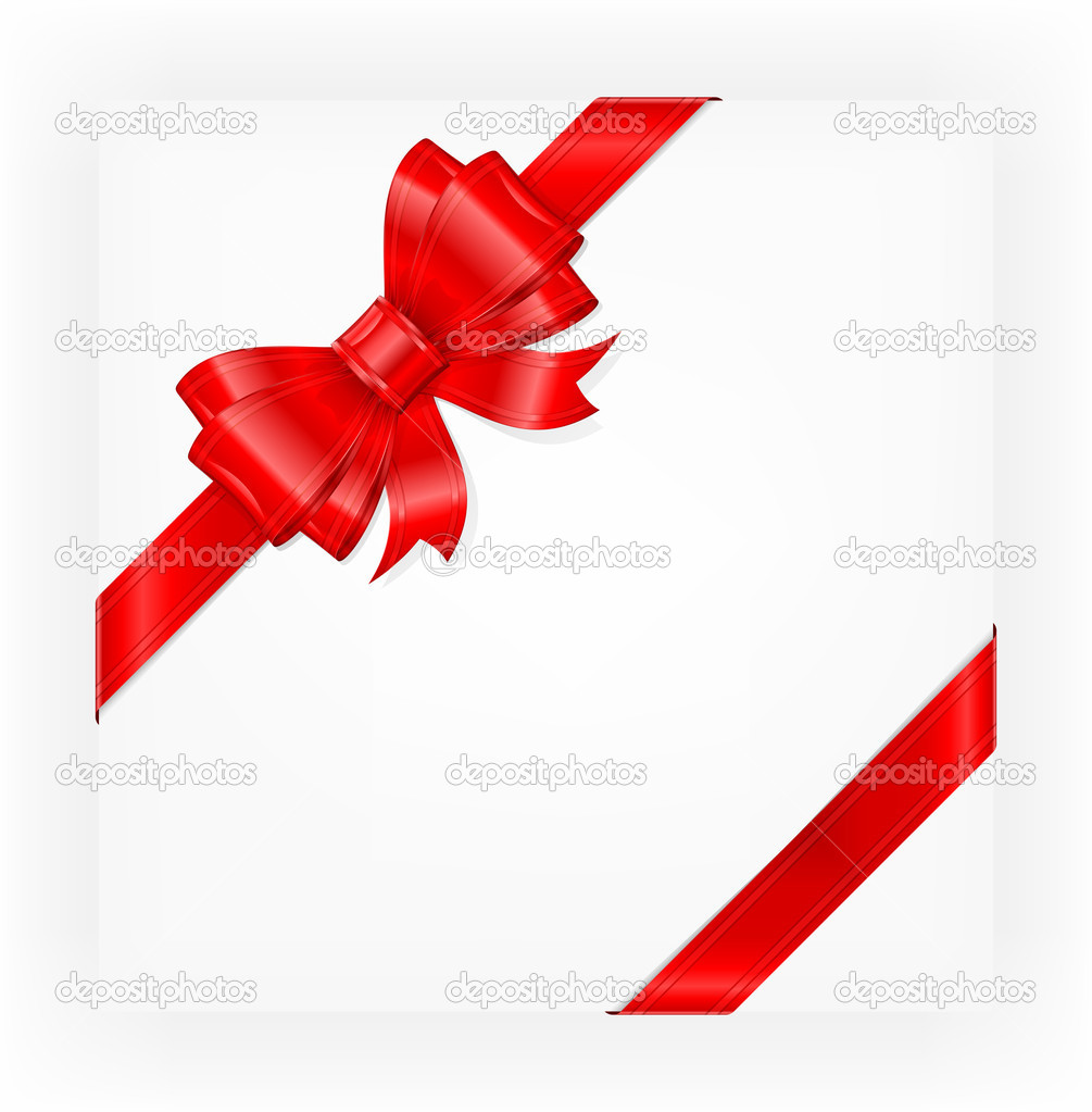 Big red gift bow with ribbons, illustration vector — Stock Vector #8625295