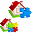 House with puzzles — Stock Vector #9559374