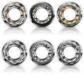 Metal bearings on white — Stock Vector
