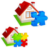 House with puzzles — Stock Vector