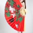 Woman with chinese fan — Foto de Stock
