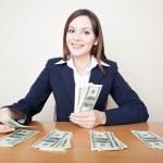 femme d'affaires avec de l'argent — Photo