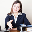 Acquaintance with the business woman — Stock Photo
