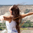 Woman and freedom — Stock Photo