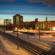 Winter landscape on the railway — Stock Photo