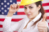 Thumb up for american economy — Stock Photo