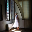 The woman in white - Stock Photo