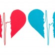 Broken red and blue hearts with ECG — Stock Photo