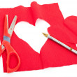 Creating red paper heart — Stock Photo