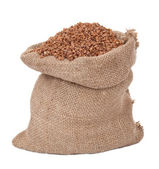 Burlap sack with buckwheat — Stock Photo