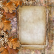 Autumn frame of oak leaves on a grange background. — Stock Photo #8012496