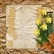 Royalty-Free Stock Photo: Vintage paper with a roses on the vintage background.