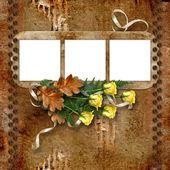 Marcos para fotos con una rosas en el fondo vintage. — Foto de Stock