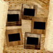 Grunge filmstrip from old papers on the abstract background. - Stock Photo