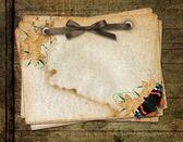 Framework for a photo or congratulation. Grange wooden backgroun — Stock Photo