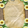 Old paper with bunch of flowers on the grunge abstract backgroun — Stock Photo